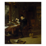 Interior with a Scientist Giclee Print by Michiel Van Musscher