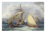 Papal Galleys and Ships of War, c.1850 Prints by Charles Hamilton Smith