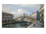 Venice, the Grand Canal, the Rialto Bridge from the South Giclee Print by Canaletto 