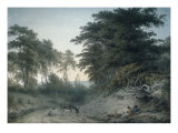 A Family and Two Donkeys Resting by a Country Road, 1795 Giclee Print by John Glover
