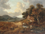Landscape with Rustics and Donkeys on a Path Giclee Print by Thomas Gainsborough