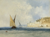 Shipping off the Mediterranean Coast, 1848 Giclée-Druck von John Callow