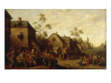 A Village Street Scene Poster by Joost Cornelisz Droochsloot