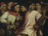 Six Tuscan Poets: Dante, Petrarch, Boccaccio, Cavalcanti, Ficino and Landino Poster von Giorgio Vasari
