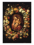 Madonna and Child within a Garland of Flowers Giclee Print by Jan Breugel the Elder