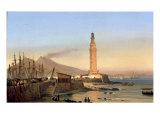 A View of the Lighthouse of Santa Lucia, Naples Giclee Print by Ippolito Caffi