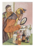 Tom Thumb: The Doctor Uses a Magnifying Glass in Order to See Tom Thumb Poster von Hermann Vogel