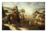 Landscape with Christ appearing to his Disciples at the Sea of Galilee, 1553 Giclee Print by Pieter Breugel the Elder