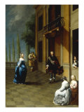 Elegant Figures with a Lady and a Gentleman Dancing on a Terrace Posters by Hieronymus Janssens