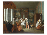 A Lady about to give Birth, Surrounded by her Family and Doctors, 1734 Giclee Print by Peter Jacob Horemans