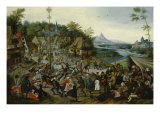 Peasants dancing around a Maypole Giclee Print by Pieter Brueghel the Younger