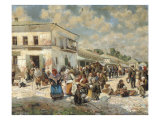 The Main Square of the Village, 1919 Giclee Print by Vladimir Egorovic Makovsky