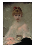 Portrait of a Young Woman with Cat Giclee Print by Charles Chaplin