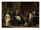 Masked Ball with Ladies and Gentlemen in Carnival Costume, Grand Hall of Ridotto in Palazzo Dandalo Poster by Giovanni Antonio Guardi