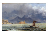 Storm Passing over Vesuvius, c.1840-50 Giclee Print by Jacob George Strutt