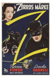 The Mark of Zorro, Swedish Movie Poster, 1940 Pósters