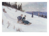 Norwegians Sledding in the Snow Giclee Print by Axel Hjalmar Ender