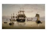 Men-of-War and other Shipping Anchored in a Calm, 1885 Giclee Print by Henry Redmore