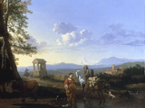 An Italianate Landscape with Peasants and a Pack Mule Watering, probably 1660s Giclee Print by Karel Dujardin