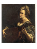 A Portrait of a Woman playing the Lute, possibly a Self-Portrait of the Artist, c.1615 Giclée-tryk af Artemisia Gentileschi