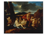 A Bacchanal with Satyrs and other Figures in a Landscape Art by Nicolas Poussin