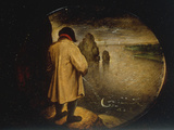 A Man Pissing on the Moon Giclee Print by Pieter Breugel the Elder