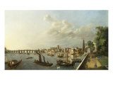 A View of Westminster from Adelphi Terrace, with the Royal Barge an other Shipping Art by William James