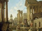 Architectural Capriccio with Ruins, Equestrian Statue of Marcus Aurelius and Figures by a Pool Print by Giovanni Paolo Pannini