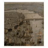 The Rhinebeck Panorama of London (Ships sailing upstream) Poster
