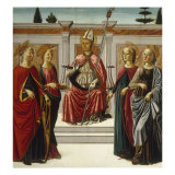 St Nicholas enthroned with Saints Giclee Print by Francesco Botticini