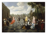 Elegant Company Dancing and Conversing on the Terrace of a Country House Poster by Hieronymus Janssens