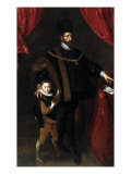Portrait of Duke Wilhelm V of Bavaria (1548-1626) and his Son Albrecht Giclee Print by Hans von Aachen