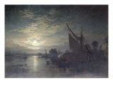 Hay Barges Moored, 1859 Giclee Print by Samuel Bough