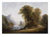 A Wooded River Landscape with Figures on a Path Print by John Henry Campbell