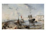 Coastal Scene with Fishermen on Broadstairs Pier Giclee Print by Henry C. Gritten