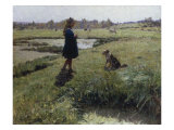 Young Girl with her Dog in the Meadows Giclee Print by Evariste Carpentier
