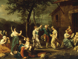 Peasants Dancing and Making Music in a Landscape Print by Stefano Ghirardini