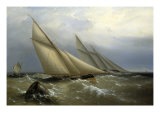 A Schooner and Cutter Yacht rounding a Buoy, 1876 Reproduction procédé giclée par Richard Bridges Beechey