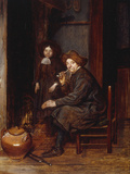 A Man Seated before a Fire Smoking a Pipe, with a Young Boy Standing Nearby Giclee Print by Esaias Boursse