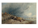 Fishermen and their Boats at Millbank on the Thames Giclee Print by David Cox