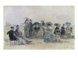 Scene de Plage, c.1865 Prints by Eugène Boudin