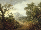 Wooded Landscape with Figures, Bridge, Donkeys, Distant Buildings and Mountain Posters by Thomas Gainsborough
