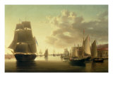 H.M. Brig Rose Leaving Portsmouth Harbour Giclee Print by William Anderson