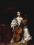 A Young Lady Playing a Violoncello Giclee Print by Renier de la Haye