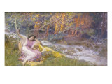 Reclining by a Stream Giclee Print by Frederick Arthur Bridgman