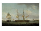 A Frigate of the Honourable East India Company in Two Positions off the Indian Coast Print by Thomas Whitcombe