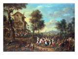 Peasants Merrymaking outside a Tavern, Elegant Figures Looking on, 1694 Giclee Print by Jan Anton Garemyn