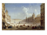A View of the Plaza Mayor, Madrid Poster by Carlo Bossoli