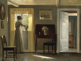 A Woman watering a Plant by a Window, 1915 Giclee Print by Alfred Broge