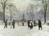 Snow Scene in the Kongens Nytorv, Copenhagen Giclee Print by Paul Gustav Fischer